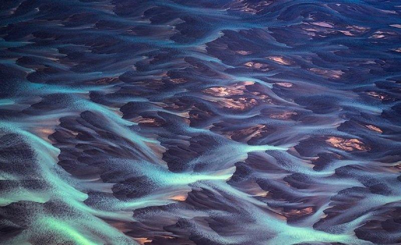Стремительные ледяные воды дрон, исландия, кадр, красота, мир, природа, съемка