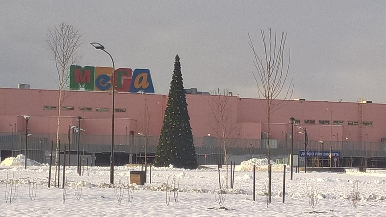 В Петербурге возле торгового центра к Пасхе установили новогоднюю ель