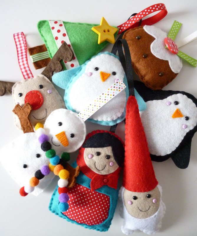 Елочные игрушки из фетра и Дед Мороз на дом
