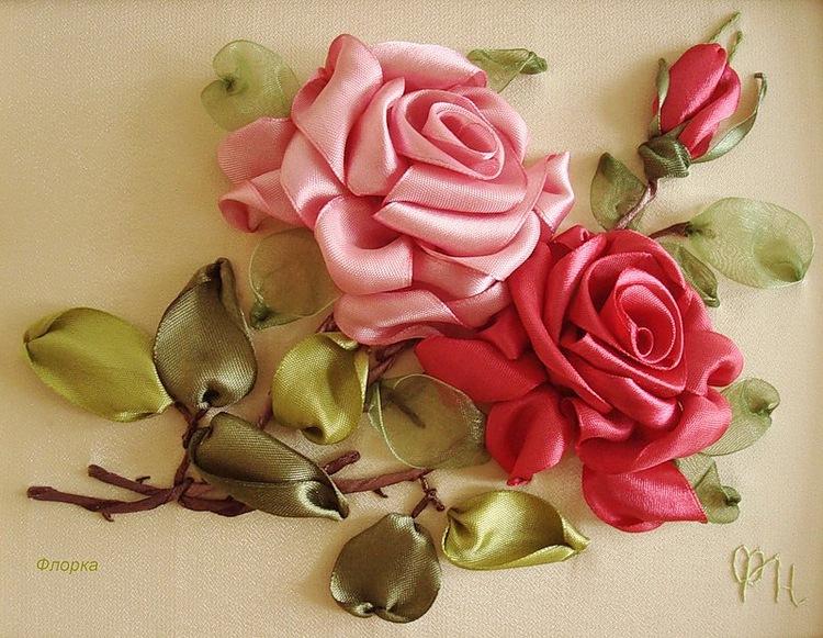 Узор розы вышивка лентами