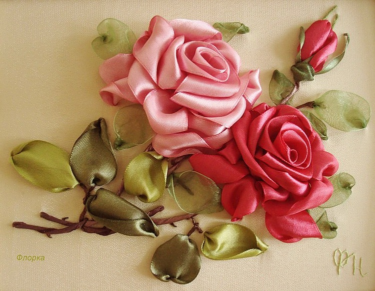 Вышивка лентами роза пошагово в