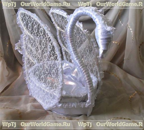 МК подарочная корзинка в форме лебедя.