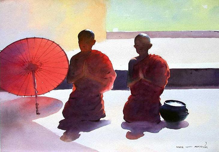 Акварельные картины художник Мьё Вин Онг 29