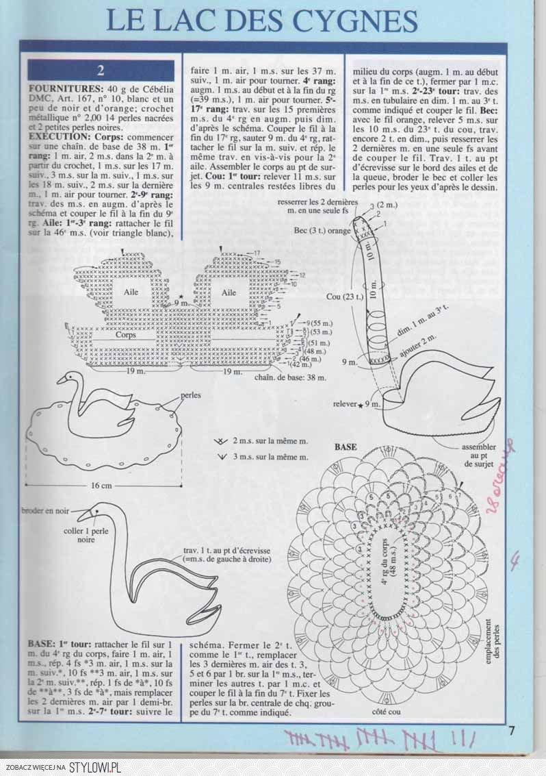 Салфетки с лебедями схемы вязания крючком 92