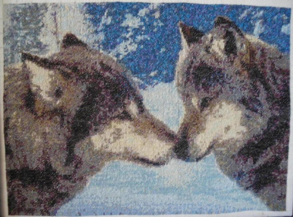 Пара волков | Вышивка крестом