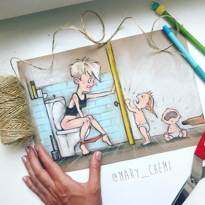 Иллюстрации о повседневной жизни российской мамы