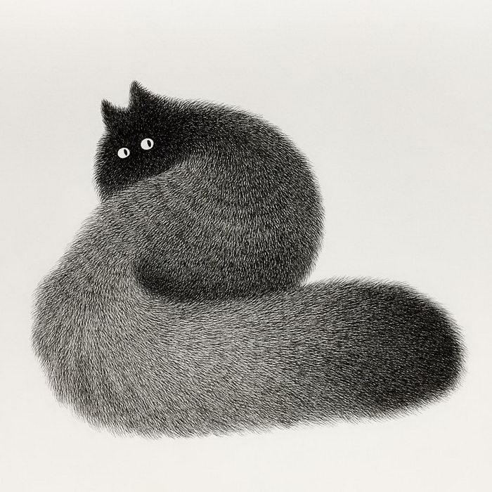 Котики, нарисованные обычной гелевой ручкой