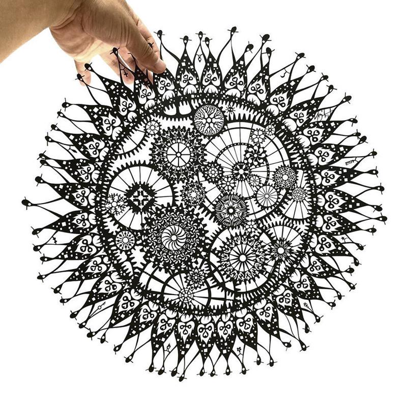 Заводное Солнце Мандалы, бумага, зентангл, художник