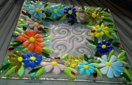Декоративная посуда ручной работы. Ярмарка Мастеров - ручная работа тарелочка СТРАНА ЦВЕТОВ, фьюзинг. Handmade.