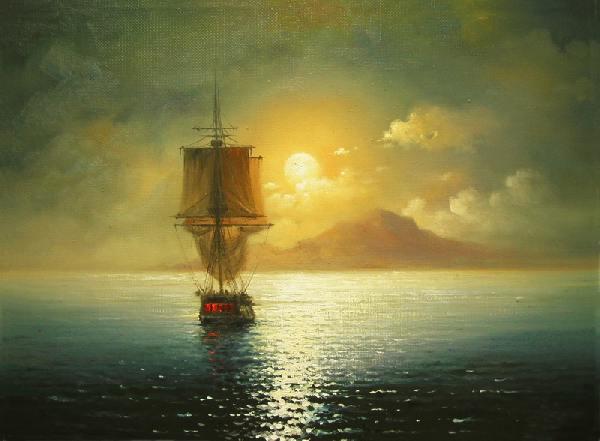море, закат, парусник