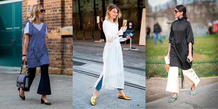Брюки с платьем – новый тренд, который заполонил мегаполисы