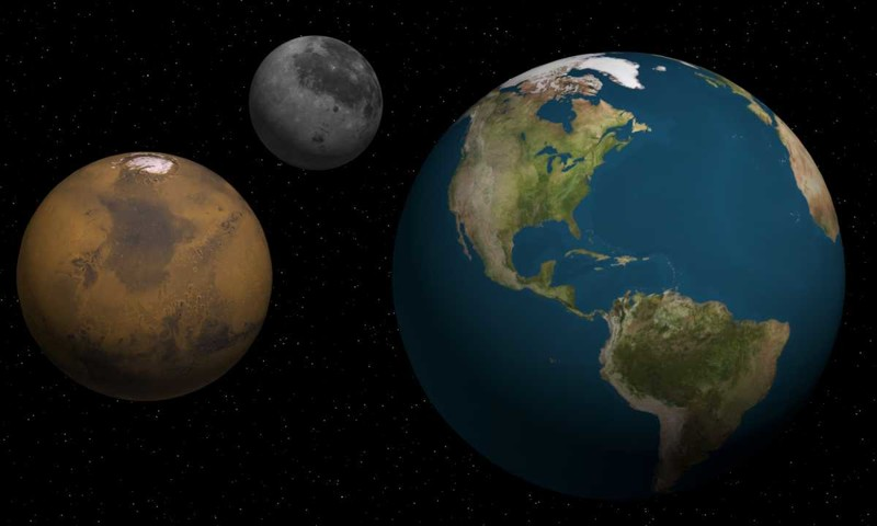 Сравнение размеров Земли, Марса и Луны/© professornerdster.com космонавтика, марс, наука