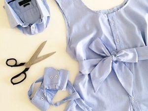 Летняя женская блузка с поясом из мужской рубашки