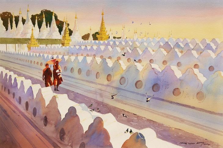 Акварельные картины художник Мьё Вин Онг 6