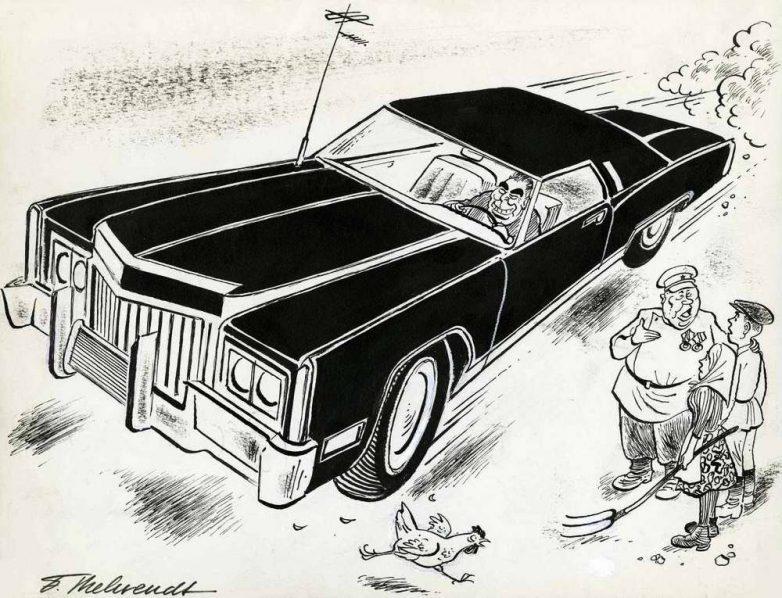 На современном скоростном автомобиле Леонид может очень быстро эвакуироваться в капиталистический ад в случае возникновения для него каких-либо угроз внутри страны (1973 год)