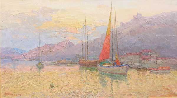 яхты, вечер, закат, Крым, бухта, Украина, горы, море, импрессионизм