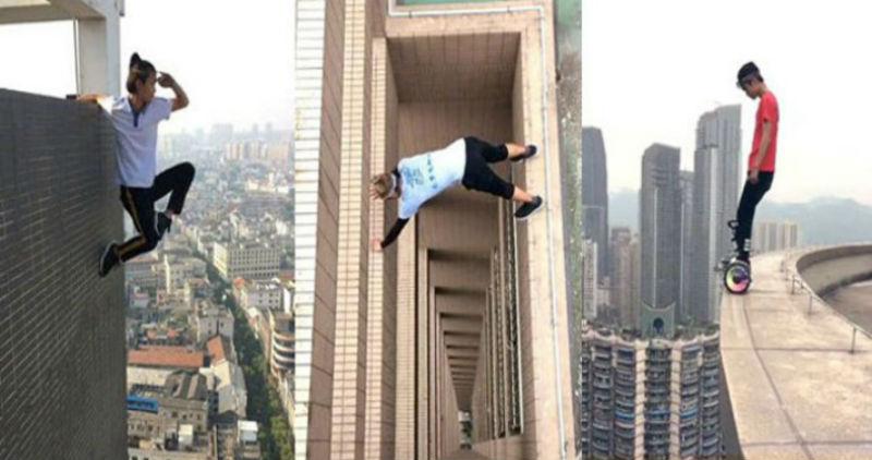 Руфер из Китая сорвался с небоскреба во время трюка, и это запечатлела камера