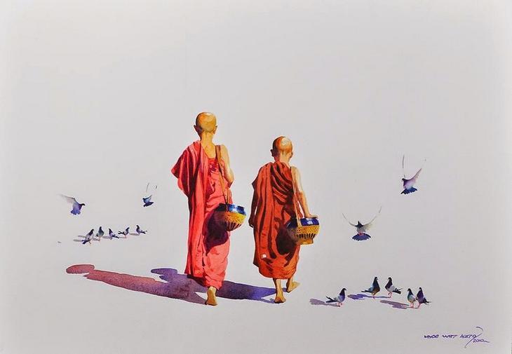 Акварельные картины художник Мьё Вин Онг 31