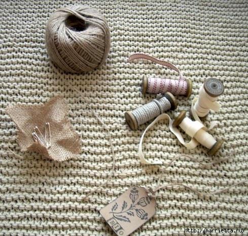 Идеи упаковки новогодних подарков. Шьем мешочки и украшаем их орешками (10) (489x464, 227Kb)