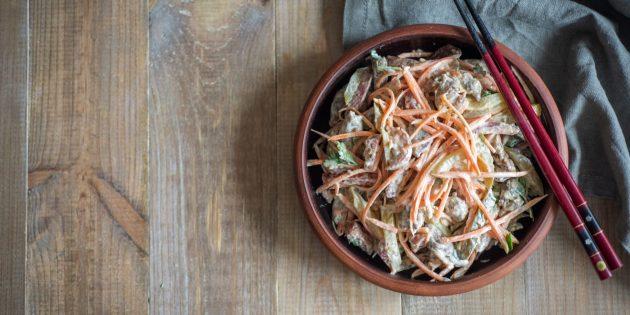 Как приготовить салат с корейской морковью и печенью