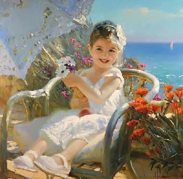 «Мой дружочек, мой цветочек, красотулечка моя!» —   чудесный мир детства на полотнах Владимира Волегова
