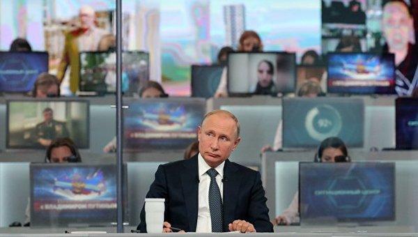 Прямая линия с В.В. Путиным, фото с сайта РИА