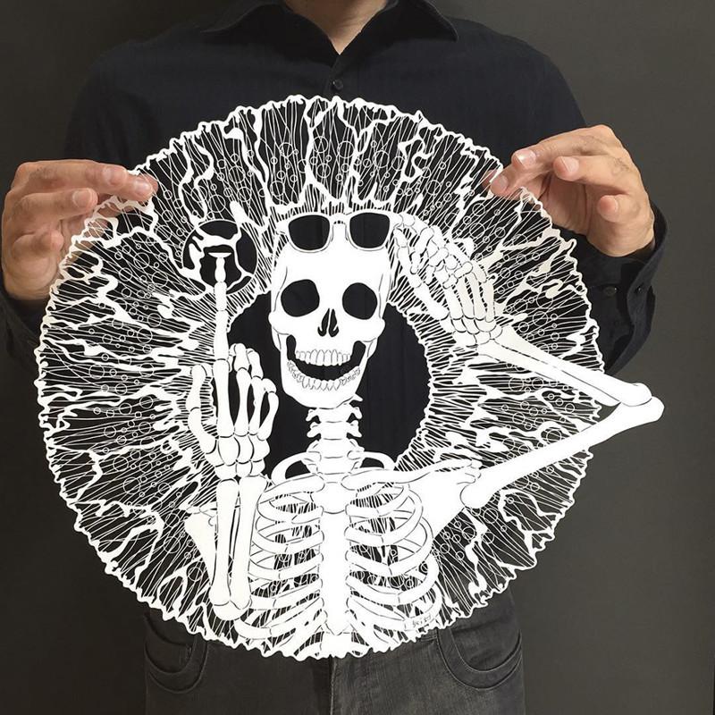 Скелет с плохим зрением Мандалы, бумага, зентангл, художник