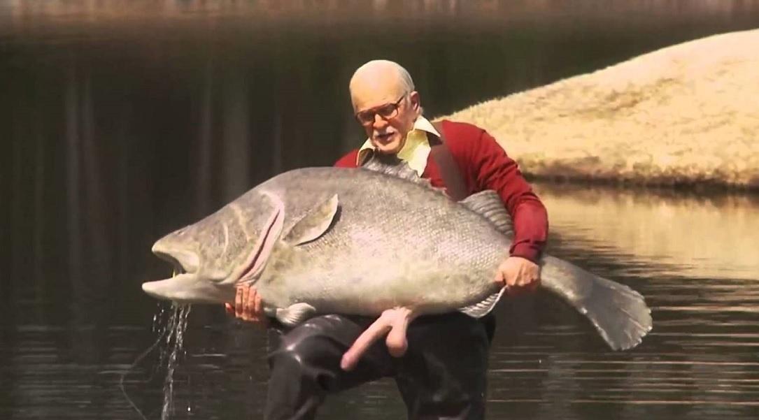 рыбак увидел толстое тело рыбы великана