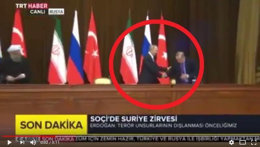 Опубликовано видео, как Путин «с грохотом» уронил стул Эрдогана после переговоров в Сочи