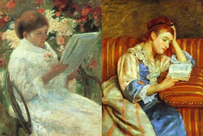 Мэри Кассат. Слева – *Женщина, читающая в саду*, 1880. Справа – *Молодая женщина за чтением*, 1876