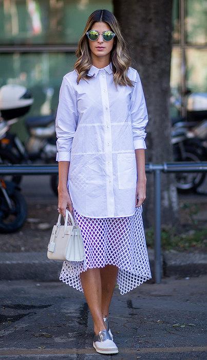 платье рубашка модные образы