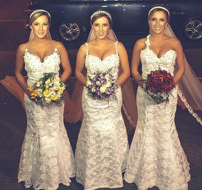 Свадьба сестер-тройняшек.