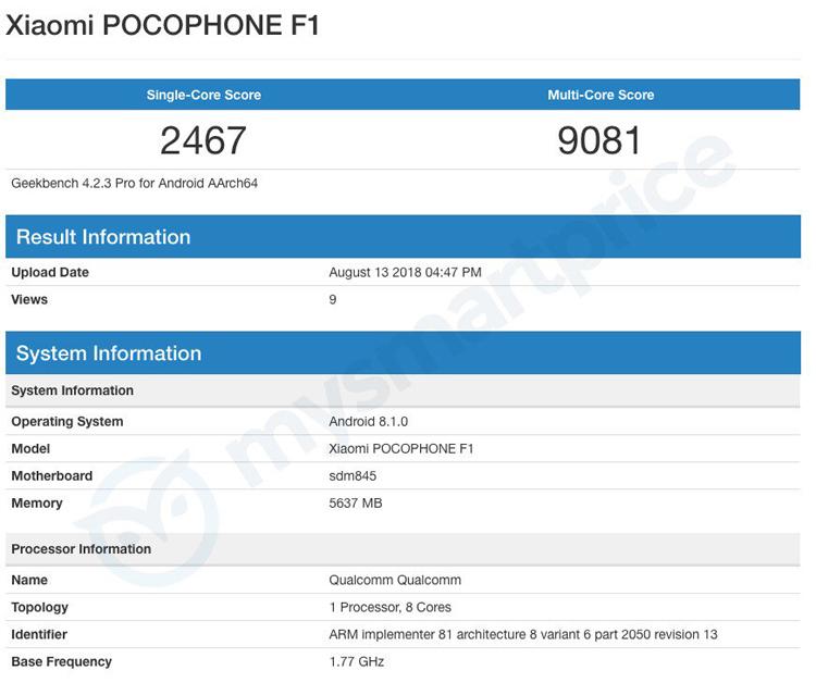 Xiaomi Pocophone F1 оказался производительнее всех флагманов на Snapdragon 845