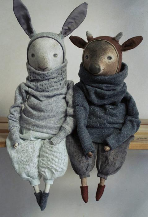 Кролик Расмус и олененок Михаэль. Авторские куклы Марины Глебовой.