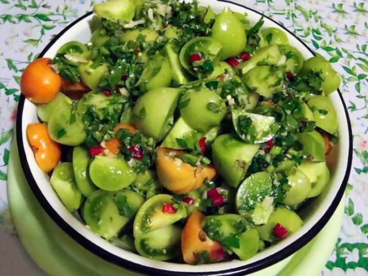 Вкуснейшие зелёные маринованные помидоры