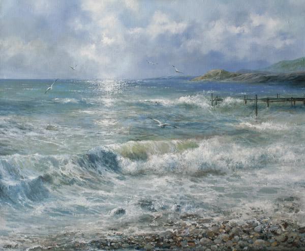 море, волна, пена, прибой, облака