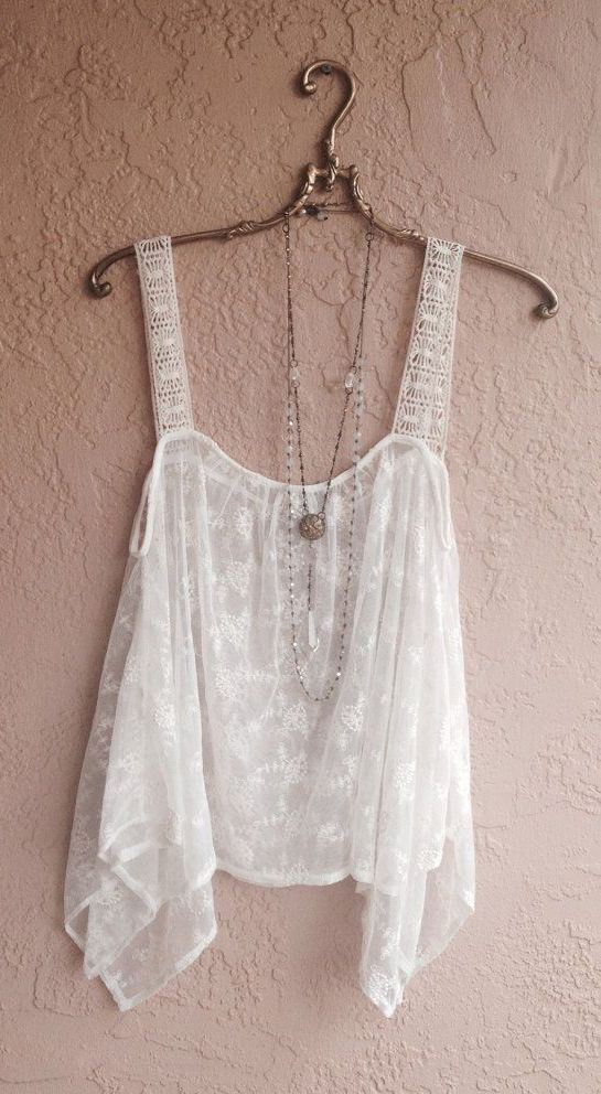 White Sheer embroidered Bohemian festival top:
