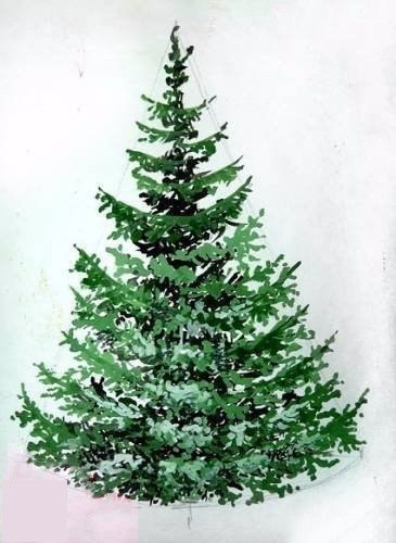 Рисуем елку - пошаговый мастер класс
