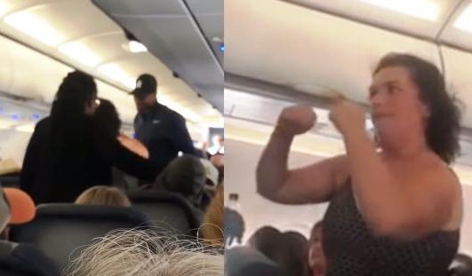 Устроившая ад в самолете женщина попала на видео