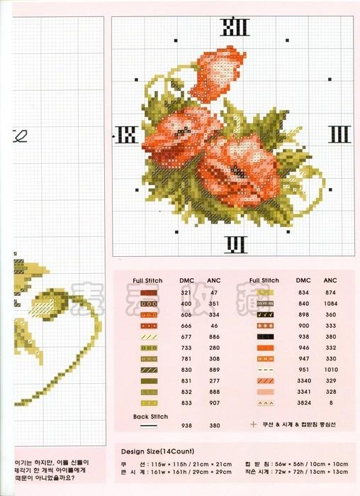 Схема вышивки маки часы