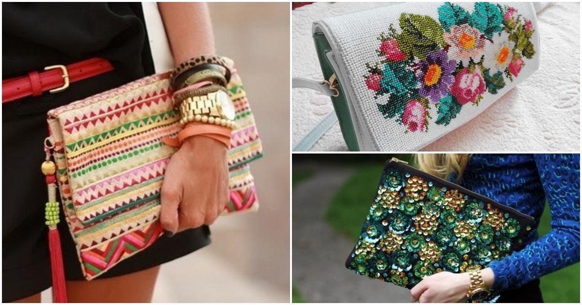 Шикарные вышитые сумки и клатчи: 20 идей для вдохновения
