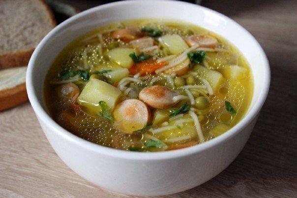 Быстрый суп с сосисками - отменный рецептик для дачи!