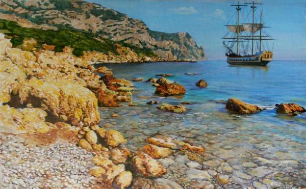 Корабль, Крым, берег, марина