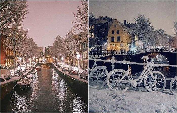Сказочные фотографии Амстердама, который нынешней зимой завалило снегом