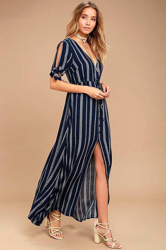 Полоски принт платье