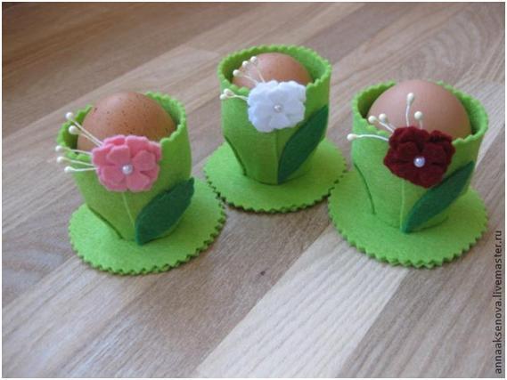 Нарядные фетровые подставки для яиц (мастер-класс)
