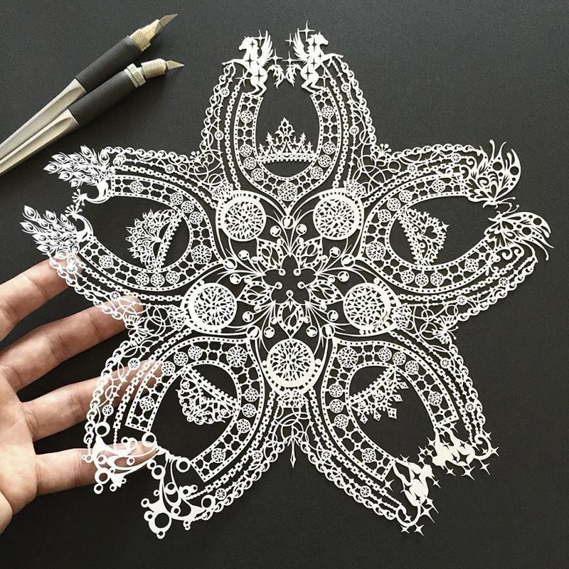 Вишневое цветение и драгоценности Мандалы, бумага, зентангл, художник