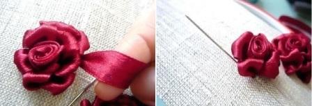 Затем можете бутон закрепить на ткани и от него вышить объемные лепестки.