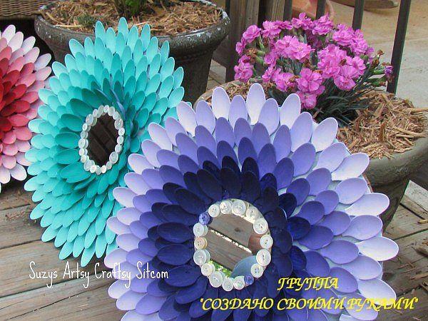 Красивые цветы из пластиковых  ложек для дачи  или дома