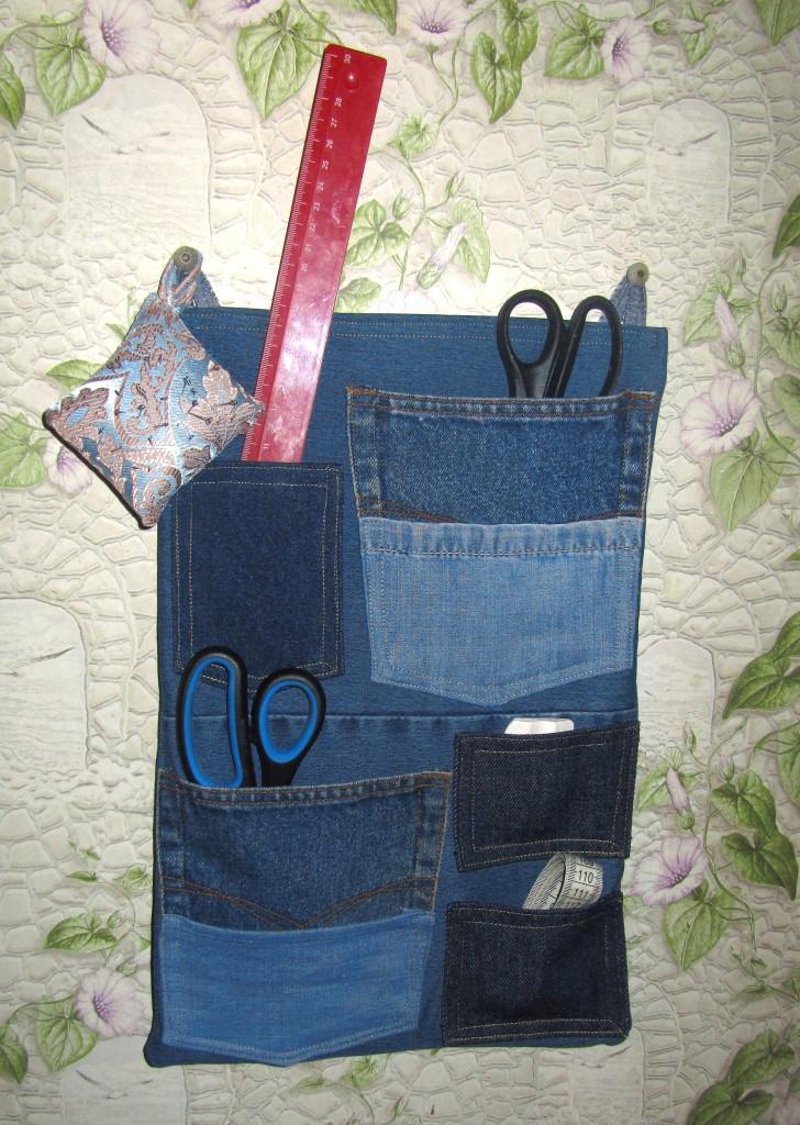 Как сделать органайзер из джинса